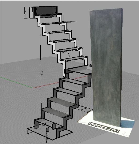 escalier suspendu marches en b ton cir. Black Bedroom Furniture Sets. Home Design Ideas